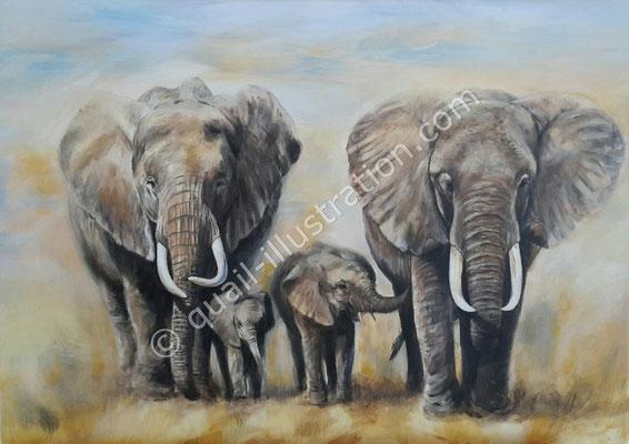 Elefanten in Acryl gemalt