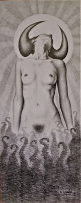 """Naturaleza indómita""(ungezähmte Natur) drawing on paper, 50cm x 20cm, 2019"
