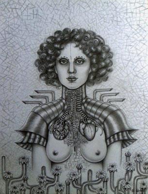 """Naturaleza  híbrida"" ( Hybride Natur), graphite drawing on paper, 28 cm x 36 cm, 2006"