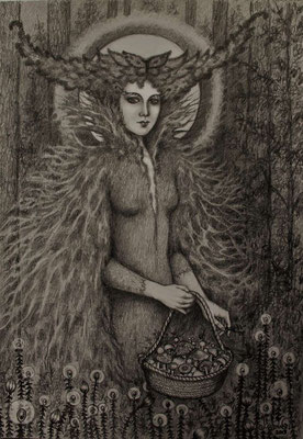 """""""Morgana"""",  graphit drawing on paper,  32cm x 22cm, 2019"""