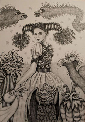 """Blancanieves"" (Schnee Mädchen) graphite drawing on paper, 28cm x 36cm, 2013, Private collection"