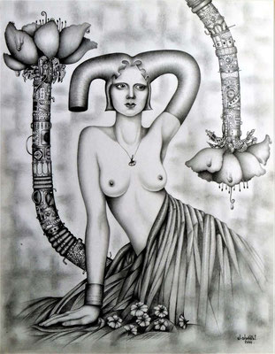 """""""Flor sintética"""" (Synthetische Blume), graphit drawing on paper, 28 cm x 36 cm, 2001"""