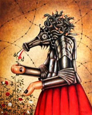 Das Monster des endlosen Appetits, Oel auf Holzpappe, 40 cm x 50 cm, 2014