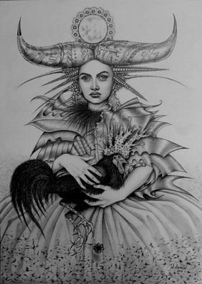 """""""Arrullo de luna"""" (Wiegenlied des Mondes), graphite drawing on papier, 35 cm x 43 cm, 2012, Private collection"""