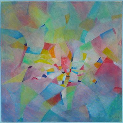 Paradiesvogel / Acryl auf Textil / 70 x 70cm / 2017