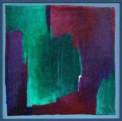 Hängendes Grün / 71,5 x 72 cm / Acryl auf Gips/Filz / 2020