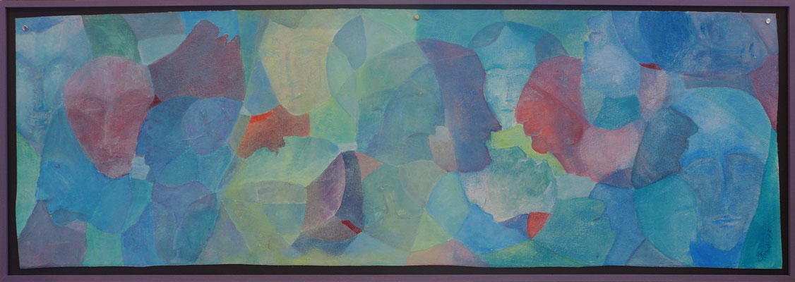 Kopfsache / Acryl auf Textil / 43 x 120cm / 2017