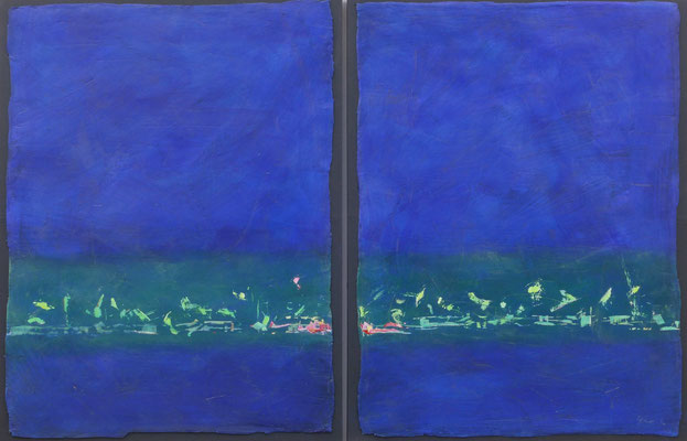 Tanz im Grünen / Acryl auf Gips, Filz / 105 x 160cm / 2016