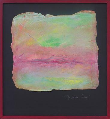 Grüne Sonne / Acryl auf Gips/Filz / 56 x 79cm / 2017