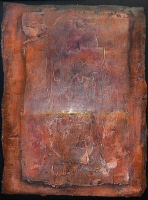 Gelebt / Mischtechnik auf Keramik, Gips, Filz / 44 x 58cm / 2016