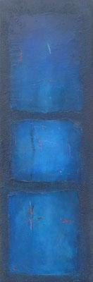 Träumendes Blau / Acryl auf Keramik/Abrieb / 50 x 150cm /2017