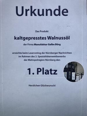 1. Platz beim Genuss-Wettbewerb der Nürnberger Nachrichten