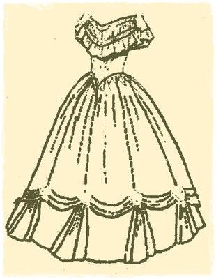 Skizze für ein 1860er Brautkleid