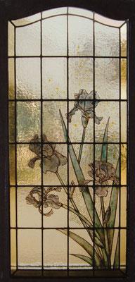 vitrail iris et mimosa peint émaux et jaune d'argent sur verre coulé