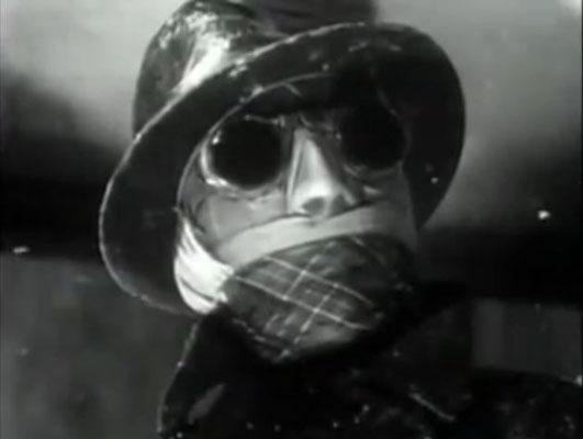 Der mit Bandagen und einer künstlichen Nase ausgestattete Unsichtbare betritt die Bar von Jenny Hall