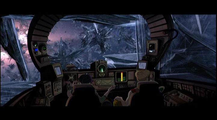 ein weiteres Beispiel für die großartige technische Umsetzung des Films, hier: ein begeisternder Blick aus dem Cockpit eines Raumschiffes