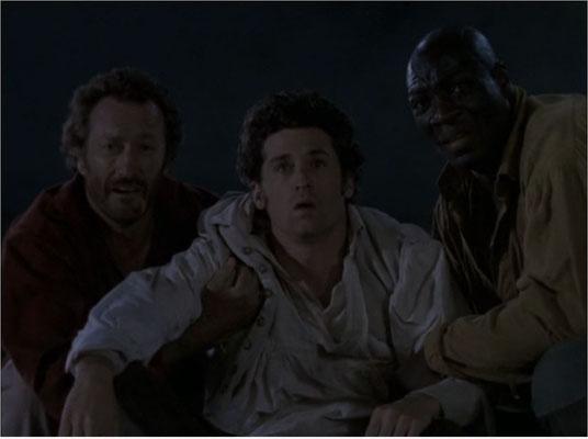 von links nach rechts: Bryan Brown als Ned Land, Patrick Dempsey als Pierre Arronax und Adewale Akinnuoye Agbaja als Cabe, für dessen Rolle die Figur des Conseil im Roman aufgegeben wurde)