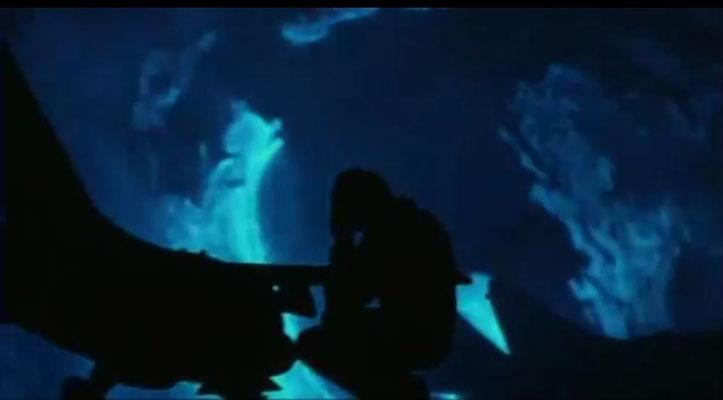 sehr schöne Bildsprache: die Darstellung des Zeitreisephänomens mit Schatten und Blue Screen