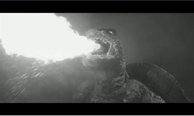 Gameras Fähigkeit des Feuerspuckens wirkt in schwarz/weiß besonders ansprechend