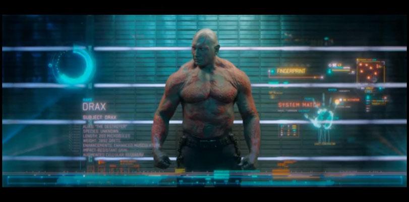 Drax, der Zerstörer wird vom Wrestler Dave Bautista, der hier in seiner ersten größeren Rolle zu sehen ist, gespielt