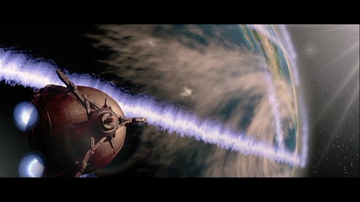 die Animateure und Computerkünstler haben gute Arbeit abgeliefert, hier: der TITAN gelingt im letzten Augenblick die Flucht von der explodierenden Erde