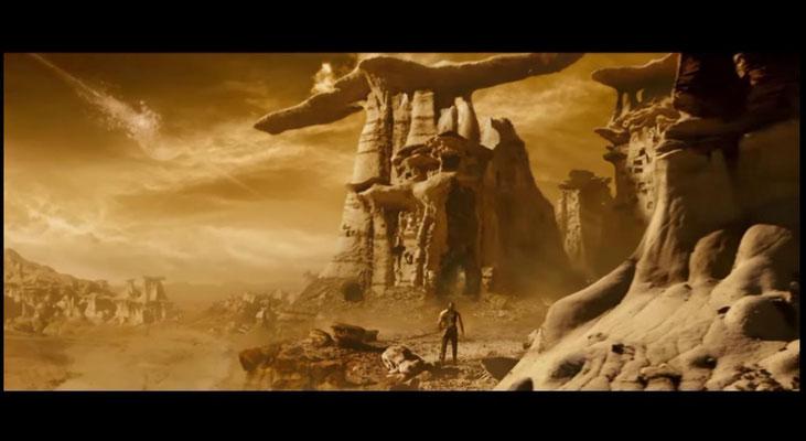 die Felsenformationen sind von einer unter Naturschutz stehenden Bergkette inspiriert. Weil man dort nicht drehen durfte, wurden etwa 5000 Fotos gemacht und später am Computer bearbeitet)
