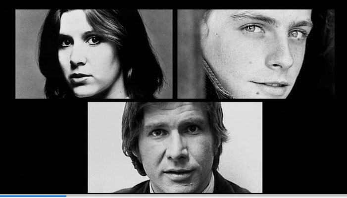 die Castingfotos der damals noch unbekannten Carrie Fisher [+27.12.2016], Mark Hamil und Harrison Ford, aus: Empire of Dreams – The Story of the Star Wars Trilogie