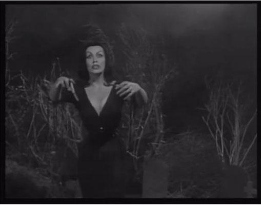 """Maila Nurmi alias """"Vampira"""" wollte zunächst nicht mit einem Ed Wood Film in Verbindung gebracht werden, sagte dann aber aus finanziellen Gründen doch zu"""