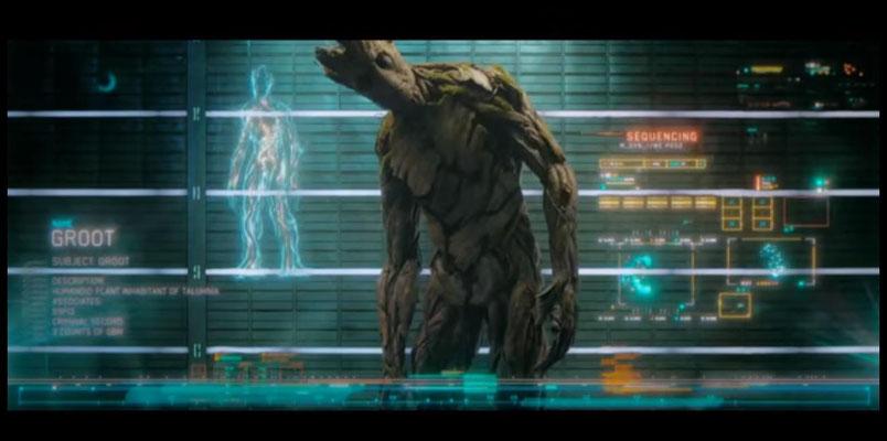 mit Groot sind zwei der fünf Hauptfiguren im Film voll animiert. So schweigsam die baumähnliche Kreatur auch ist, so unterhaltsam ist sie