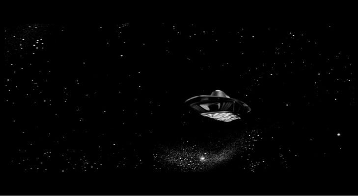 die Ikarie XB1 auf ihrem Flug zu Alpha Centauri. Die Spezialeffekte entsprechen etwa denen von TV-Produktionen jener Zeit