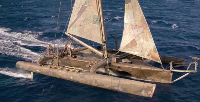 der Trimaran des Mariner, vielleicht eine der überzeugendsten Requisten im Film