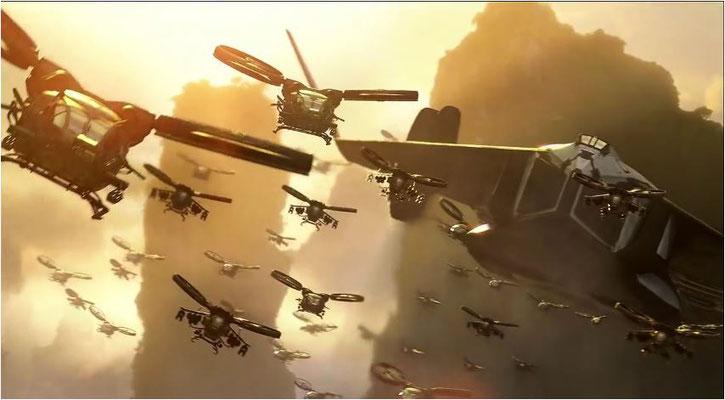 on den hier zu sehenden helikopterartigen Fluggeräten wurden 1:1 Modelle angefertigt und im Film, z.B. für Cockpitaufnahmen verwendet