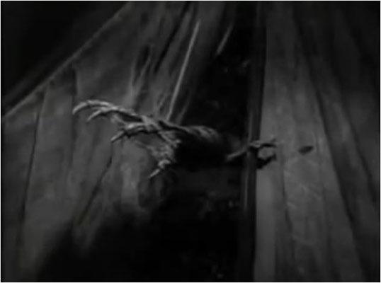 """eine der typischen 3-D Szenen des Films, wie sie auch heute noch in ähnlicher Art verwendet werden. Übrigens war das """"Monster"""" erst nach etwa einem Drittel des Films vollständig zu sehen"""