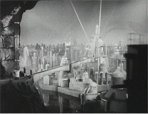 abseits der Westernelemente ist der SciFi Anteil sehr hoch. Hier die Stadt Murania, teils als Modell und teils als Mattepainting gefertigt