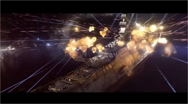 die CGI Effekte sind für eine verhältnismäßig kostengünstige Produktion wie diese auf sehr gutem Niveau. Hier: Raumkreuzer der Gamilon