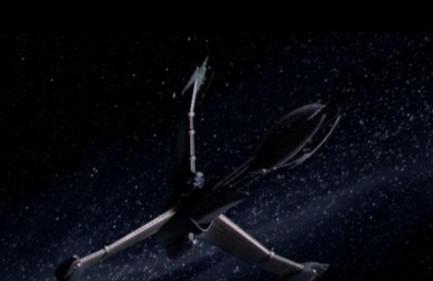 die Excalibur, ein Schiff dass mit Vorlonen-Minbari- und Erdtechnologie heimlich für die intergalaktische Allianz gebaut wurde