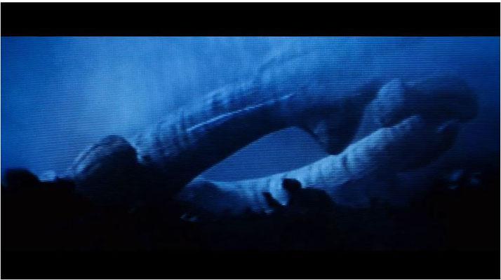 das fremde Raumschiff, wie es von den Scannern der Nostromo gesehen wird. Dieselbe Raumschiffform taucht in Prometheus wieder auf
