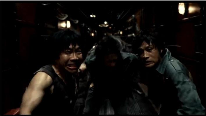 für ostasiatische Streifen nicht unüblich ist ein gewisses Overacting, hier zu sehen: Cpt. Hwang, Do Sang und Go Jong fliehen in Panik vor dem Monster