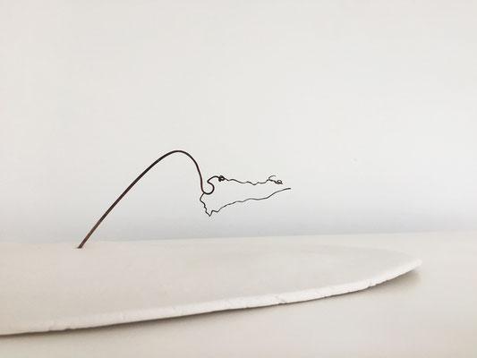 De nature en sommeil, porcelaine-papier, 40x37X3 cm, 2020