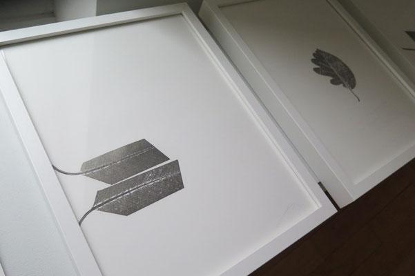 Origami la feuille se plie, monotype sur papier Rivoli, 30x40 cm, 2019