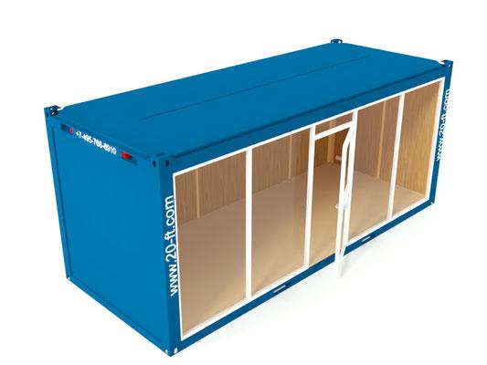 Фасад блок-контейнера с витриной
