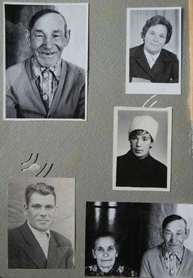 Это страница с фотографиями из альбома на которой удачно разместились дедушка Семён, бабушка Соня и их дети – первый ребёнок, Леонид, в нижнем левом углу, тётя Надя (вверху), моя мама (в центре), родилась последней. Также тут фото отдельно дедушки Семёна