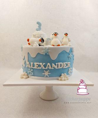 Schneelandschaft mit Pinguinen zum 3. Geburtstag von Alexander