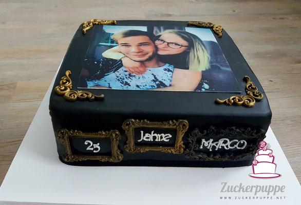 Bilderrahmen Torte mit essbarem Foto zum 25. Geburtstag von Marco