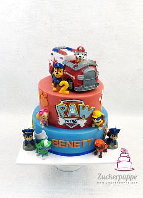Pawpatrotorte mit Spielzeugfiguren zum 2. Geburtstag von Benett