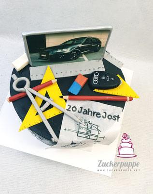 Zum 20. Geburtstag von Jost sein heiliger Audi und die bestandene Lehrabschlussprüfung zum Hochbauzeichner