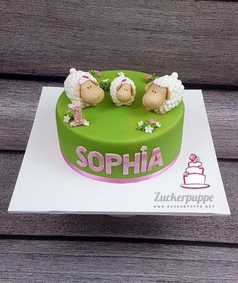 Schäfchenfamilie zum ersten Geburtstag von Sophie