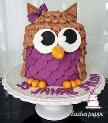 Eulen - Torte zum 55. Geburtstag von Sylvia