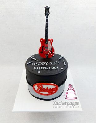 Gretschgitarre und Harley Panhead Logo zum 23. Geburtstag von Thomas