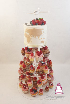 Cupcake-Tower zum Thema Reisen zur Hochzeit von Selena und Andy